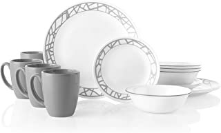 مجموعة أواني الطعام من كوريل 3695 مكونة من 16 قطعة لأربعة قطع، مقاومة للشرق، زجاج، خطوط رخامية، Vitrelle