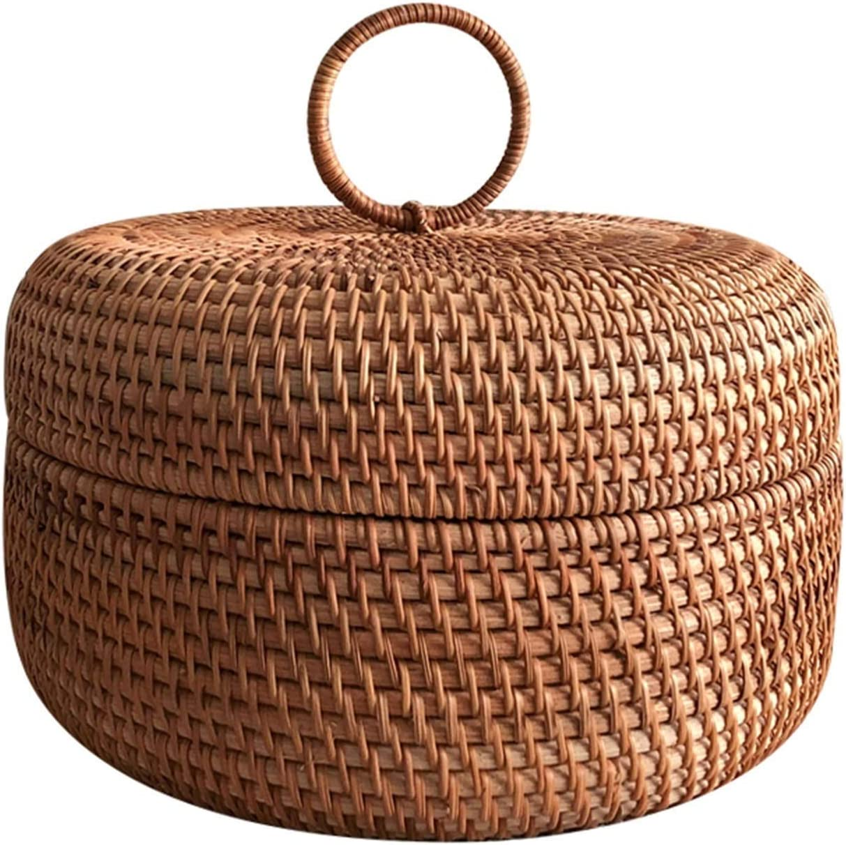 Rattan Basket with Today's only Cover Save money Fruit Wove Storage Round Handmade Bread