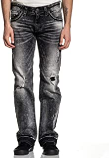 Affliction Men's Ripped Jeans, Ace Armor Bones Variant, Bleached Distressed Denim