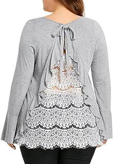 Raptop Women' Back Lace Shirt Oversized Long Sleeve Casual Shirt Tops Blouse Plus Size M-XXXXL