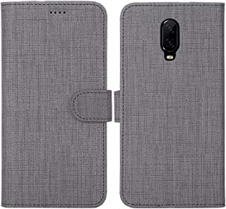 Oneplus 6T Case Cover Flip,TPU&PU Leather Case with Kickstand, Multi-Function Magnetic Suction Strong Closure Wallet Phone Case Cover for Oneplus 6T (Gray)