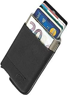 NeroAvorio Tarjetero para Tarjetas de Crédito, Bloqueo RFID, Monedero Fino Aluminio y Cuero, Negro, Minimalista, Sistema Pop-UP para 6 Tarjetas con Bolsillos Exteriores para Billetes o Monedas