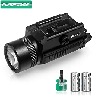 FLAGPOWER 1200 Lumens Rail Mounted Compact Pistol Light LED Tactical Gun Flashlight for Picatinny MIL-STD-1913 and Glock Pistol Weapon Light with Cree XML2 LED 2 x CR123A Lithium Batteries