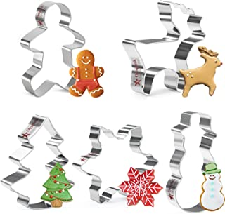 Orapink 5 Pieces Christmas Cookie Cutters Set Stainless Steel Xmas Cookie Cutters Holiday Biscuit Cutter for Baking - Snow...