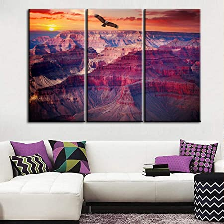 Amazon Com Wall26 3 Piece Canvas Wall Art Grand Canyon National Park Arizona United States Modern Home Art Stretched And Framed Ready To Hang 24 X36 X3 Panels Posters Prints