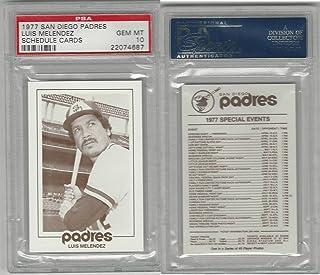 1977 San Diego Padres Schedule Baseball, Luis Mellendez, PSA 10 Gem