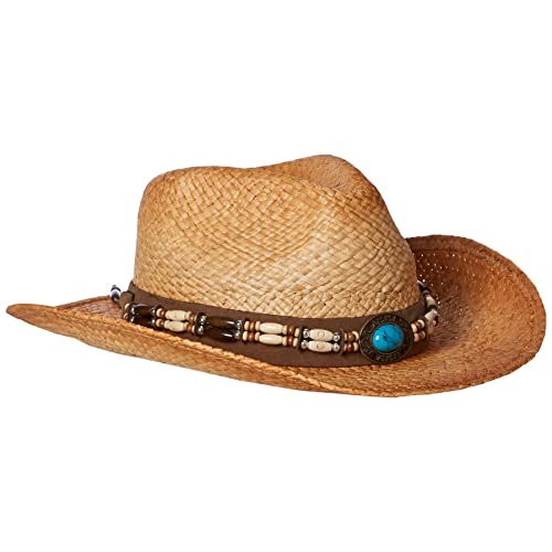 307af2918dd73 Henschel Burnished Raffia Western Straw Hat with Turquoise Concho
