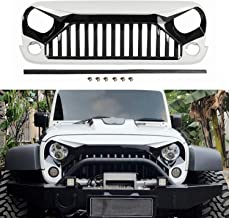 TOPFIRE Painted Front Grill for Jeep Wrangler JK/JKU 2007-2018, White And Black