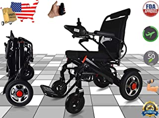 Ephesus M5 | New Model | Portable Mobility Electric Motorized Wheelchair, Lightweight Easy to Carry, 360° Remote Control | Premium Quality Lithium Battery Included | Long Mileage Range (Black -Wide)