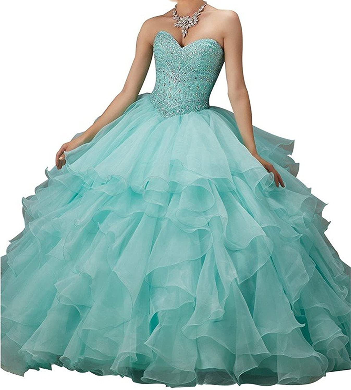 Engerla Women's Sweetheart Organza Beaded Ruffles Quinceanera Dress