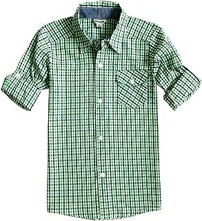 Bienzoe Boys Plaid Shirt Big Boy 's Cotton Roll Up Sleeve Button Down Sports Shirts