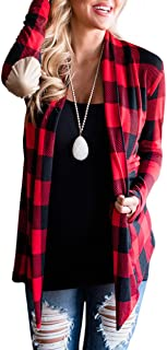 Womens Casual Plaid Print Long Sleeve Elbow Patch Draped Open Front Cardigan Sweater