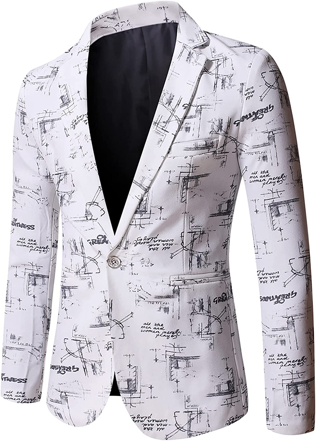 Fashion Business Suit for Men's Premium Blazer Casual Letter Printed Single Breasted Formal Dress Coat Jacket