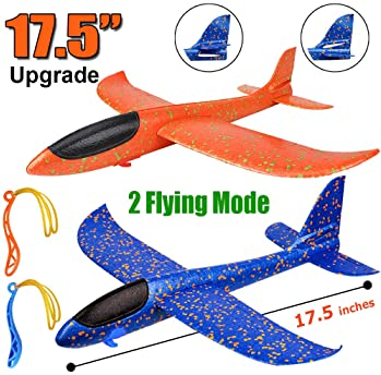 """2 Pack Airplane Toys, Upgrade 17.5"""" Large Throwing Foam Plane, 2 Flight Mode Glider Plane, Flying Toy for Kids, Gifts..."""