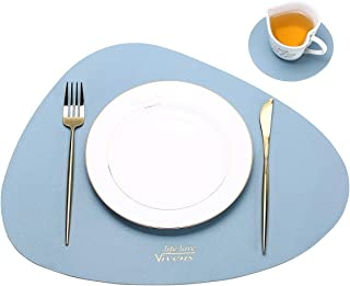 VIVENS Placemats, PU Leather Table Mats and Coasters Set of 2,Heat Insulation Stain Resistant Non-Slip Placemat Waterproof Washable Colourful Table Mats (Blue)