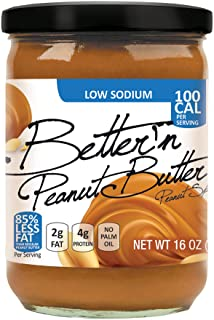 Pack of 3, Better'n Peanut Butter, Low Sodium Peanut Spread, Low Fat and Gluten Free, 16 Ounces
