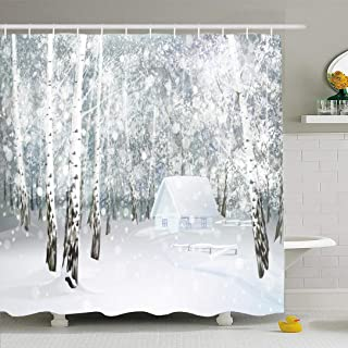 Ahawoso Shower Curtain Set with Hooks 72x78 Winter Cold Snowy Xmas Gray Landscape House Scene Silver December Birch Snowstorm Holiday Textures Waterproof Polyester Fabric Bath Decor for Bathroom