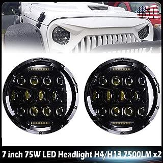 For TOYOTA LAND CRUISER FJ40 FJ45 FJ50 FJ55 FJ60 FJ62 FJ70 7inch150W Round LED Headlight DRL Headlamps High/Low Dual Beam Headlamp, H4 H13 Adapter Waterproof Quakeproof(Pack of 2)