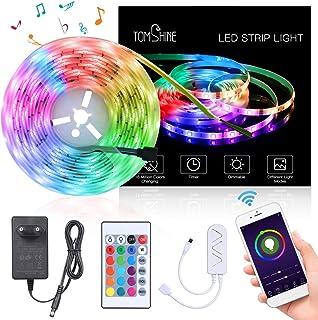 5M WiFi Tiras LED RGB Inteligente,Tomshine 150 LEDs Tiras LED de Luces,Compatible con Alexa y Google Home,Sync con Música,Impermeable IP65,Adaptador 12V,Luces Led Decoracion para el Hogar,Fiestas
