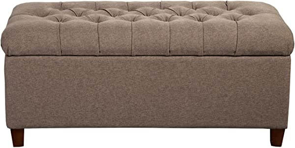 HomePop Ainsley Linen Button Tufted Storage Bench With Hinged Lid Brown