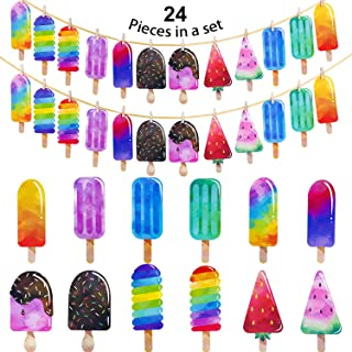 Leinuosen 2 Pack Popsicle Banner Ice Cream Banner Ice Cream Party Garland for School Summer Kid Birthday Party Decoration (Color 1)
