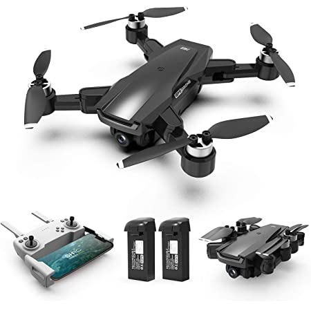 HR Drone with Brushless Motor For Adults,Foldable Drones with 4K FHD Camera Live Video And GPS Return Home,Quadcopter with Altitude Hold,Follow Me,Includes Carrying Bag(Black)