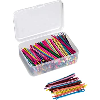 200 PCS Bobby Hair Pins Colorful Hair Pins Metal Hair Clips Hair Accessories Decorations with Clear Storage Box for Women and Girls by JCYL (Mixed Colors, 2.16 inch)