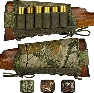 BronzeDog Camo Buttstock Cheek Rest Ammo Holder for Shotgun 12 16 Gauge Adjustable Shell Holder Hunting Carrier Right Handed