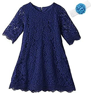 KISSOURBABY Lace Flower Girl Dress - Toddler Lace Dress,Casual Crew Neck Floral A-Line Party Dress
