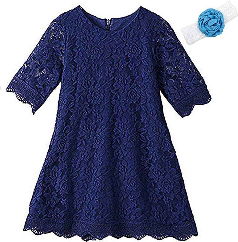 KISSOURBABY Girls Lace Flower Dress Casual Crew Neck Floral A Line Party Dress