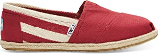 Classic University Red White Stripes Womens Canvas Espadrille Shoes Slipons