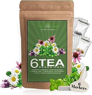 Herb Seeds Pack for Tea | 6 Heirloom Herbal and Medicinal Tea Seeds for Planting | Chamomile, Lavender, Min...