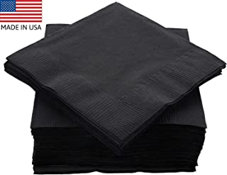 """Amcrate Big Party Pack 125 Count Black Beverage Napkins - Ideal for Wedding, Party, Birthday, Dinner, Lunch, Cocktails. (5"""" x 5"""")"""