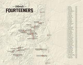 58 Colorado 14ers Map 11x14 Print (Tan)
