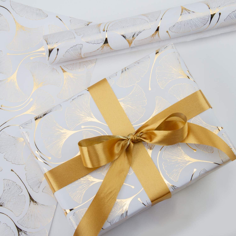 RUSPEPA Rouleau De Papier DEmballage Mariage 76 cm X 5 m Saint Valentin Design Ginkgo Feuille DOr Pour Anniversaire F/ête De Naissance