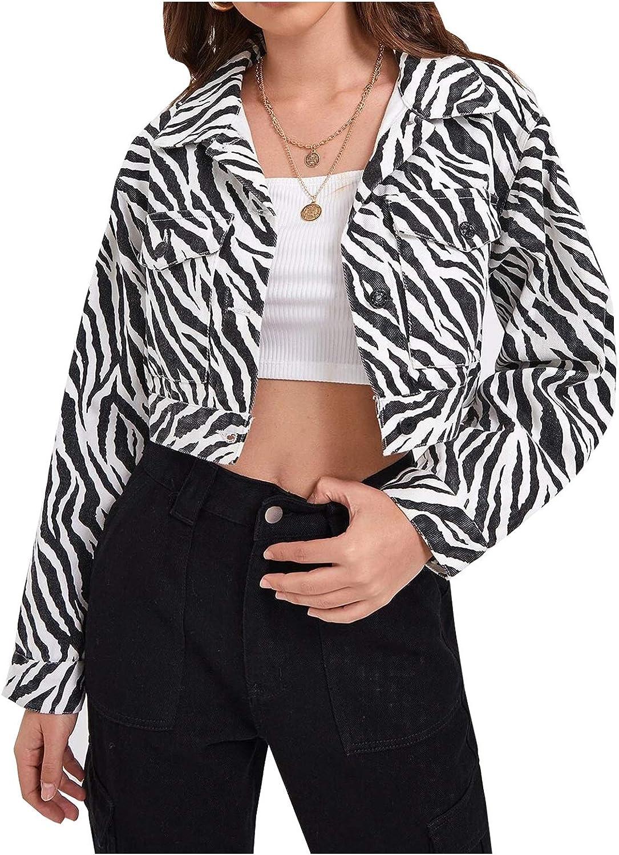 SCOFEEL Women's Jean Jacket Crop Long Sleeve Button Down Denim Jackets Coat Trucker Jacket