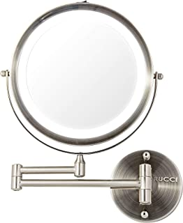 Rucci Wall Mount Makeup Mirror, Battery Operated LED Lighted, 1x/10x Magnification, 8.5 inch, Polished Chrome Finish by Rucci