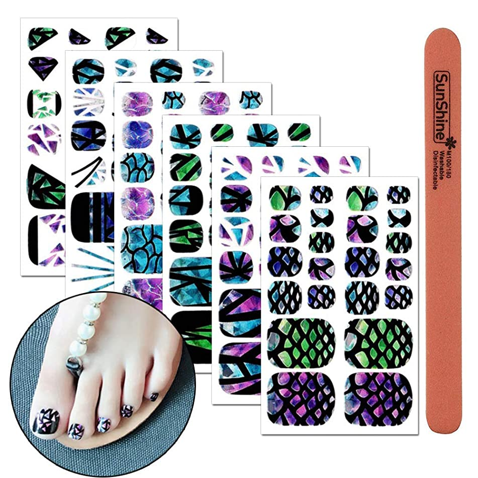 WOKOTO 6 Pieces Laser Full Nail Self-Adhesive Stickers For Toe nail With 1Pcs Nail File Nail Tips Wraps Decals Splicing pattern Holographic Manicure Stickers Kit