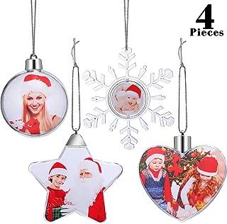 4 Piezas Adornos Navideños Plástico Adornos de Bolas de Fotos para Navidad Monitor Pared de Foto Decoración del Árbol de Navidad, 4 Estilos
