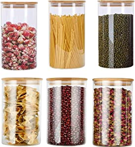 Glass Food Storage Jars Containers, Glass Storage Jar with Airtight Bamboo Lids Set of 6 Kitchen Glass Canisters For Coffee, Flour, Sugar, Candy, Cookie, Spice and More 32 oz