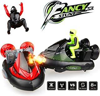RC Battle Bumper Cars, KINGBOT 2 Sets 27MHz/40MHz Stunt Car Remote Control Cars Vs Vehicles Electric Trucks with Ejectable Drivers Red/Green