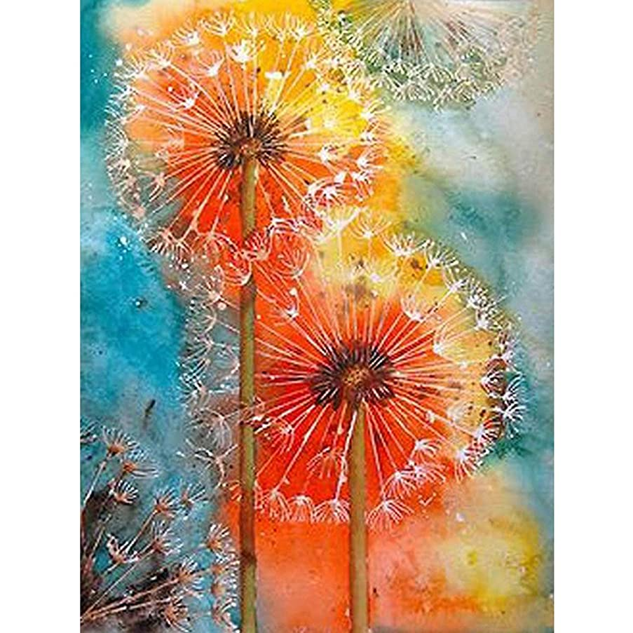 5D Full Drill Diamond Painting Kit,Hartop DIY Diamond Rhinestone Painting Kits for Adults and Beginner,Embroidery Arts Craft Home Office Decor 12 X 16 Inch (Dandelion)