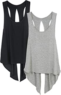 icyzone Débardeur de Sport Femme - Tops sans Manches Gilet Dos Ouvert Exercice Yoga Shirt, Paquet de 2