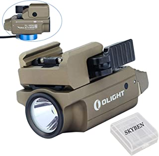 Olight PL-MINI 2 Valkyrie 600 Lumens Cree XP-L HD CW LED Modular Weaponlight Magnetic Rechargeable with Adjustable Rail,Powered by a Built-in Polymer Battery, with SKYBEN Battery Case(Desert Tan)