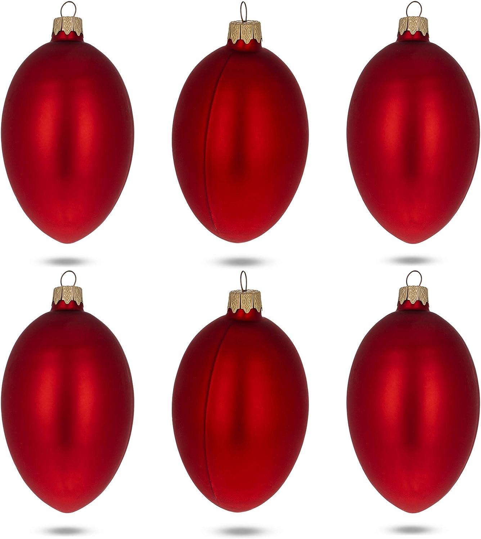 注文後の変更キャンセル返品 オーバーのアイテム取扱☆ BestPysanky Set of 6 Red Matte Ornaments Glass 4 Inches Egg