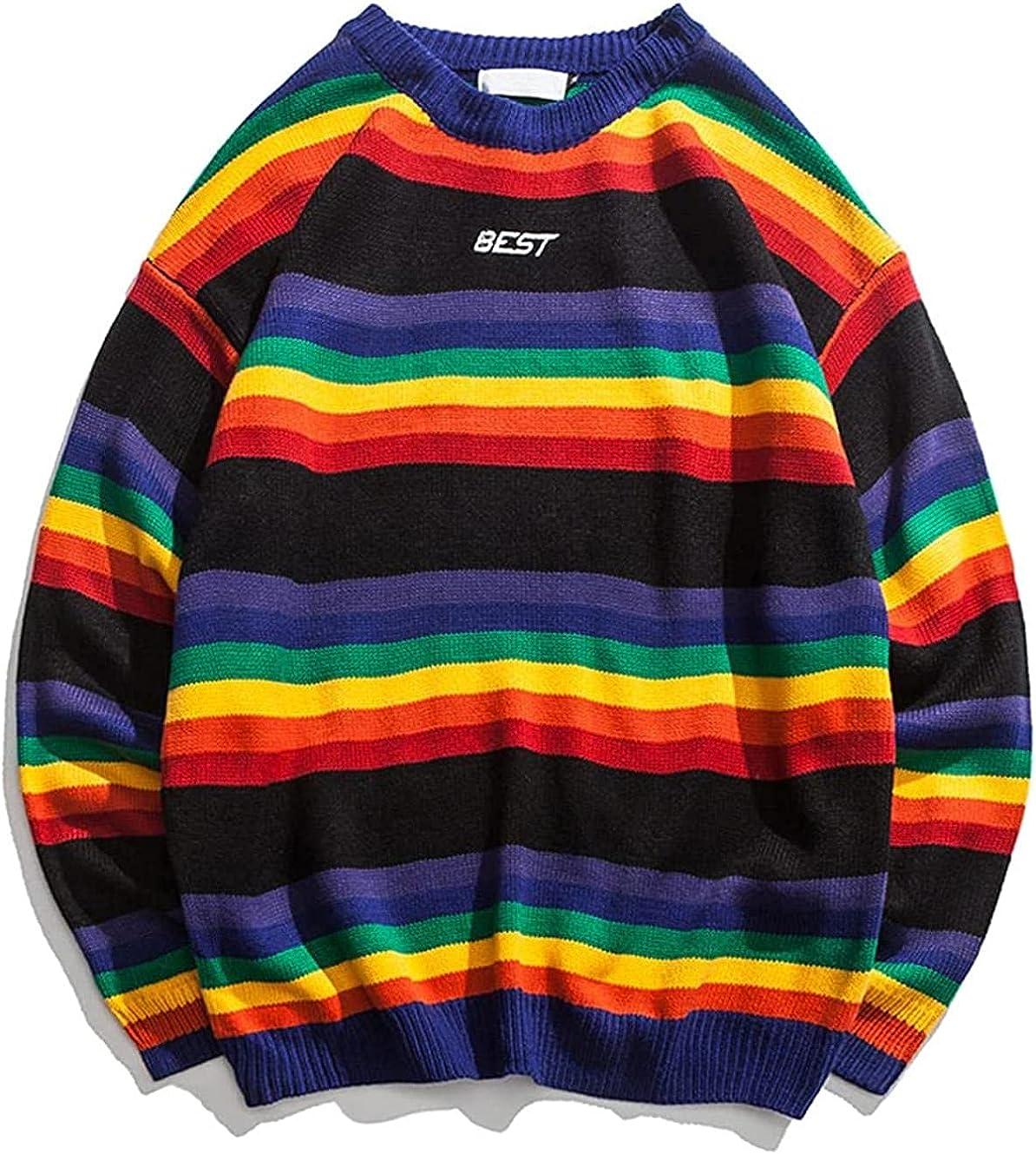Lovely Print Sweater Winter Harajuku Long Sleeve Pullover Sweater Rainbow Stripe Sweater