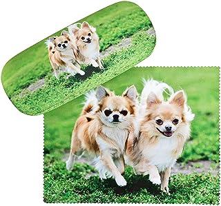 von Lilienfeld Chihuahuas Étui Lunettes Boîte Robuste Cadeau Étui Lunettes de Soleil Chiffon de Nettoyage Chien