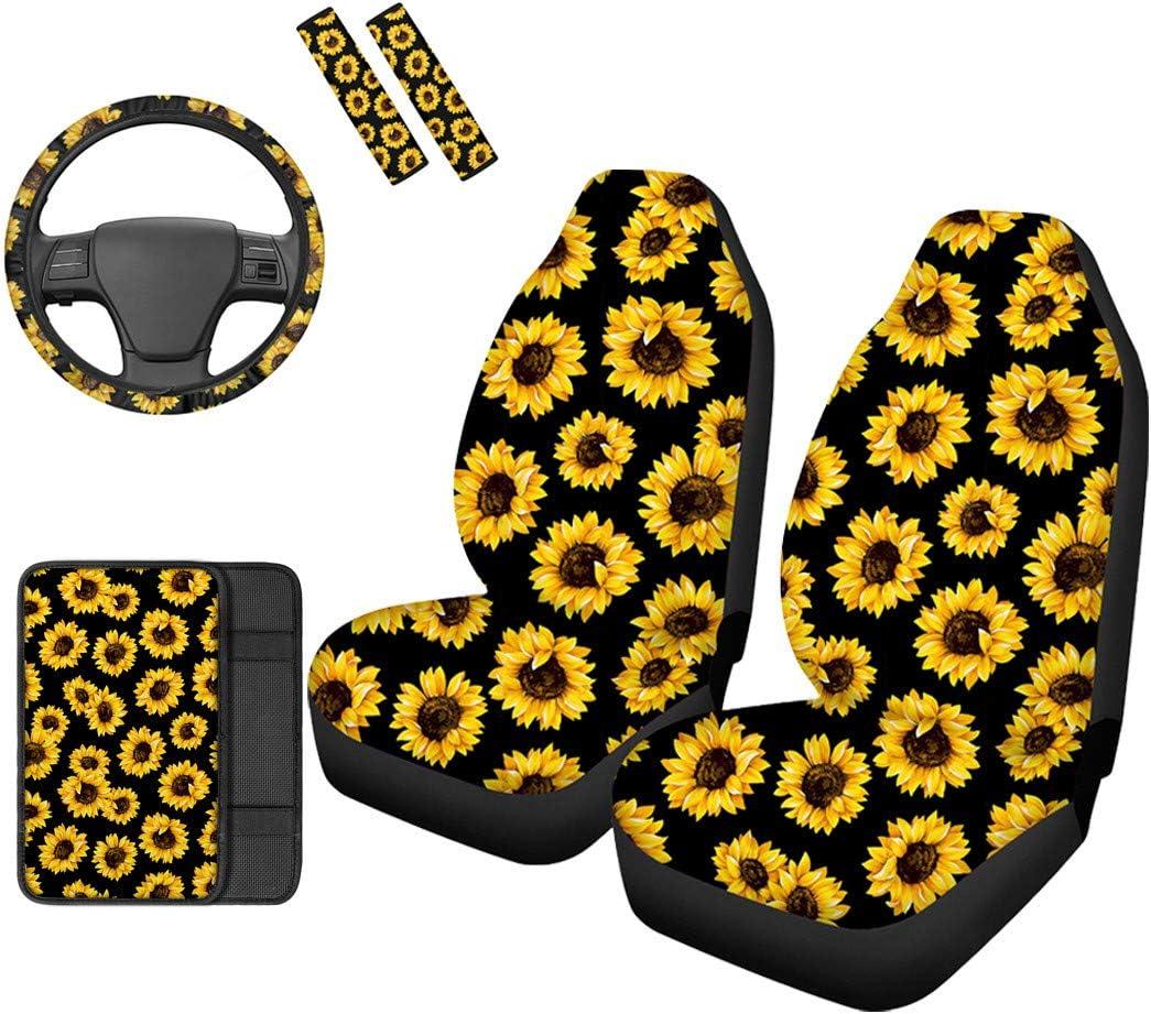 Showudesigns Sunflower Car 1 year 4 years warranty warranty Accessories Set Universal Seat 6PCS -
