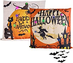 FaCraft 2 PCS Happy Halloween Pillow Covers Linen (Witch+Pumpkin) with LED Light and Bat Stickers