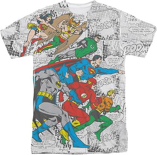 DC Comics Justice League Face Off Comic Panels Adult Front Print T-Shirt Tee